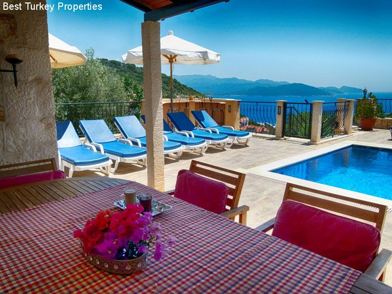 The Kitchen Terrace with alfresco dining for the whole family next to the Pool overlooking the Med!