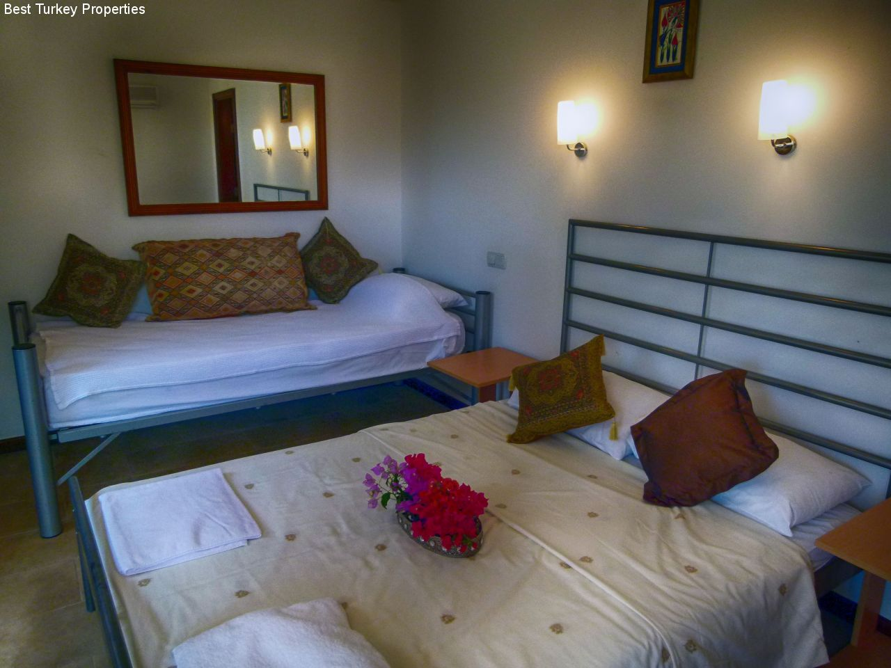 Bedroom # - the Garden Room with separate entrance with a French & a single bed. Own Patio outside