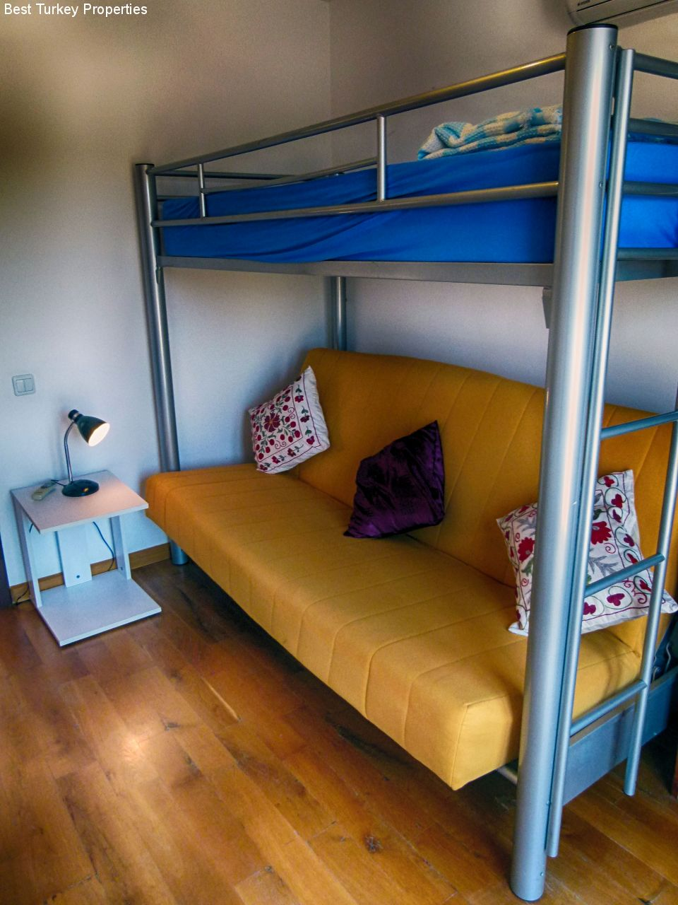 Bedroom # with sofabunk-bed for  childrenyoung adults Juliet Balcony. Sofa flat = narrow double