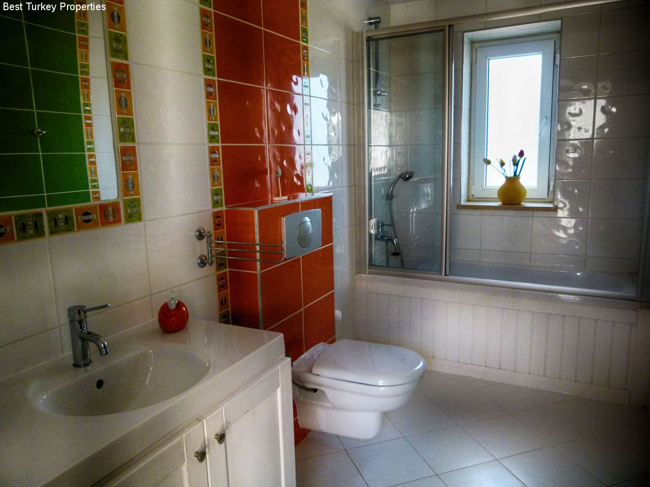 Family Bathroom adjacent to Beds # & # with Shower & a bath for a good soak in the tub!