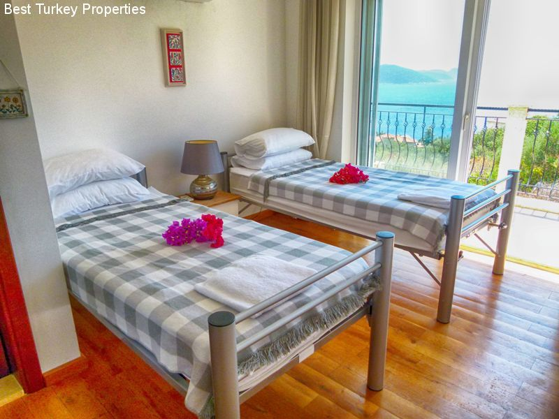 The big twin bedroom (#) with balcony overlooking the Med & Pool Terrace